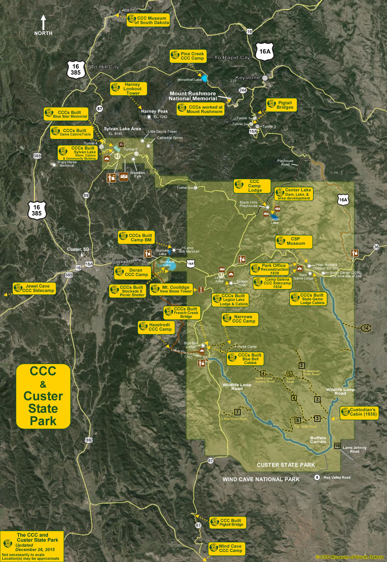 The Map Of The Civilian Conservation Corps Ccc In Custer State Park
